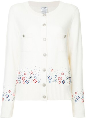Chanel Pre Owned Cashmere Floral Embossed Cardigan