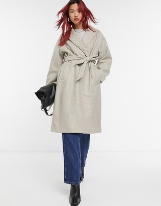 Vero Moda tailored coat with belted waist in grey