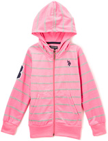 U.S. Polo Assn. Pink Stripe Zip-Up Hoodie - Girls