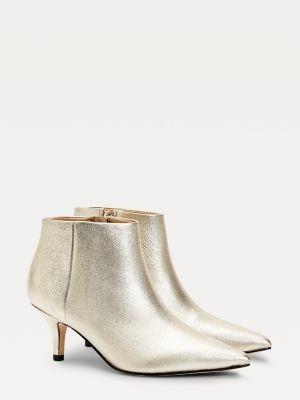 Tommy Hilfiger Elevated Metallic Leather Kitten Heel Boots