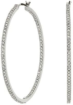 Lauren Ralph Lauren 45 mm Pave Inside Out Hoop Earrings (Silver) Earring