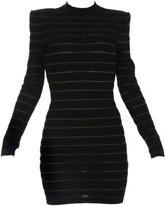 Balmain Striped Logo Knit Mini Dress