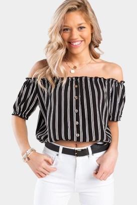 francesca's Andell Stripe Off The Shoulder Blouse - Black/White