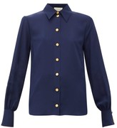 Gucci Anchor-debossed Button Silk Blouse - Womens - Navy