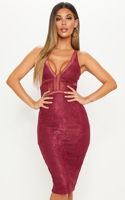 Pure Burgundy Plunge Lace Open Back Midi Dress