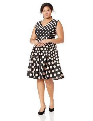 Gabby Skye Women's Plus Size Cap Sleeve V-Neck Scuba Fit and Flare Dress