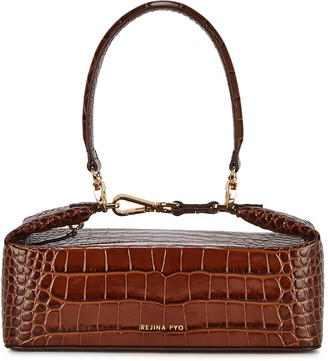 REJINA PYO Olivia brown crocodile-effect top handle bag
