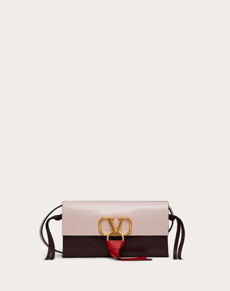 Valentino Vring Crossbody Bag In Glossy Calfskin And Multicolor Buffalo Leather Women Rose Quartz Buffalo Leather 100% OneSize