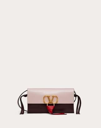Valentino Garavani Vring Crossbody Bag In Glossy Calfskin And Multicolour Buffalo Leather Women Rose Quartz Buffalo Leather 100% OneSize