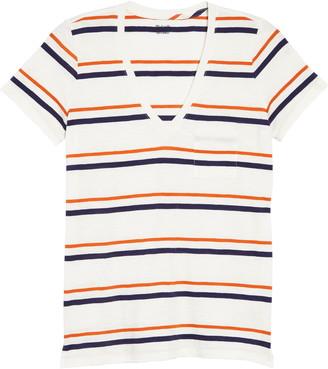 Madewell Smithly Stripe Whisper Cotton V-Neck Pocket T-Shirt