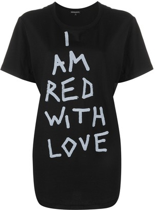 Ann Demeulemeester Red with Love dip-hem T-shirt