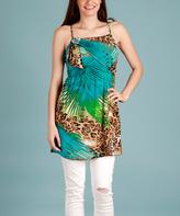 Teal & Brown Jungle Sleeveless Tunic