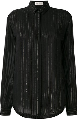 Saint Laurent Lurex Stripe Sheer Shirt