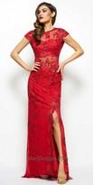Mac Duggal Illusion Sequin Sheath Evening Dress