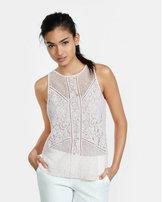 Express sheer mixed lace tank