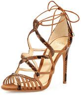 Alexandre Birman Marina Suede & Python Lace-Up Sandal, Tan