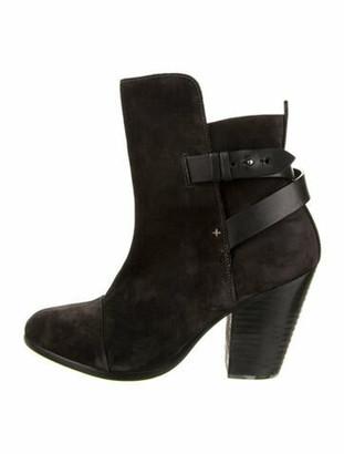 Rag & Bone Suede Leather Trim Embellishment Boots Black