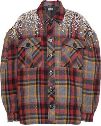 Miu Miu Crystal-Embellished Plaid Jacket