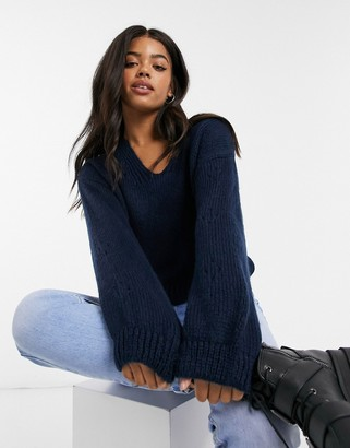 ASOS DESIGN sweater with v-neck and sleeve stitch detail in navy