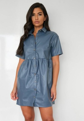 Missguided Blue Faux Leather Smock Dress