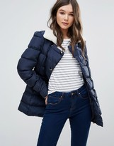 Girls On Film Padded Coat With Faux Shearling Trim Trim