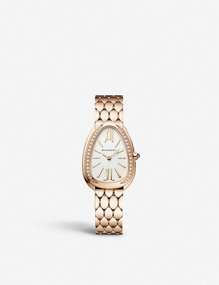 Bvlgari Serpenti Seduttori 18ct pink-gold and diamond watch