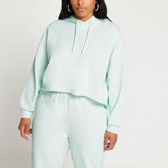 River Island Womens Plus Green raw edge long sleeve hoodie