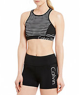 Calvin Klein Yarn-Dye Stripe Back Keyhole Sports Bra