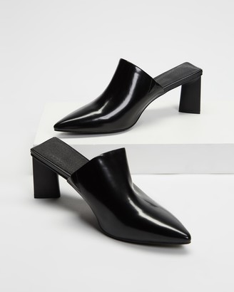 AERE - Women's Black Mid-low heels - Pointed Toe Leather Mule Heels - Size 5 at The Iconic