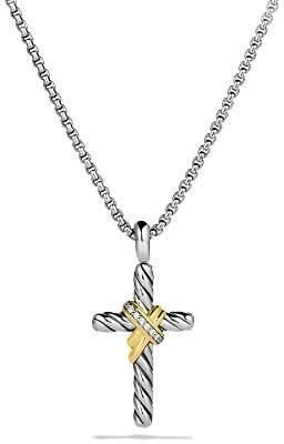 David Yurman X Cross with Diamonds & Gold on Chain