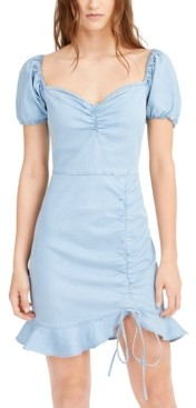 Bar III Puff-Sleeve Ruffled-Hem Dress, Created for Macy's