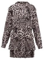 Norma Kamali - Hooded Leopard-print Jersey Cargo Jacket - Grey Print