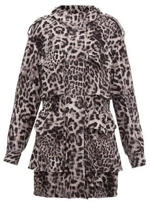 Norma Kamali Hooded Leopard-print Jersey Cargo Jacket - Grey Print