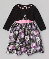Jayne Copeland Pink & Purple Floral Dress & Bolero - Toddler & Girls