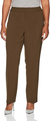 Nine West Women's Plus Size Solid Trouser Pant Golden Olive 14W