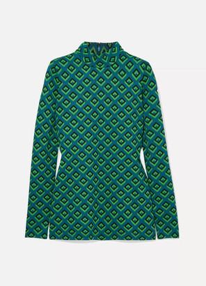 Diane von Furstenberg Jacquard-knit Turtleneck Top - Dark green