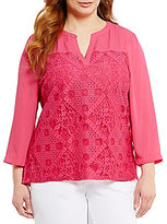 Investments Plus 3/4 Sleeve Lace Overlay Top