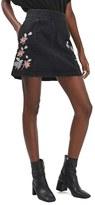 Topshop Women's Moto Embroidered Denim Skirt