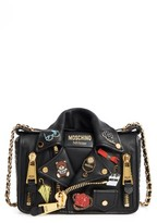 Moschino Biker Jacket Shoulder Bag - Black