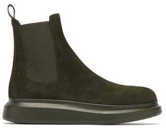 Alexander McQueen Exaggerated Sole Suede Chelsea Boot - Khaki