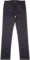 Gucci Dark Blue Raw Embroidered Slim-leg Jeans