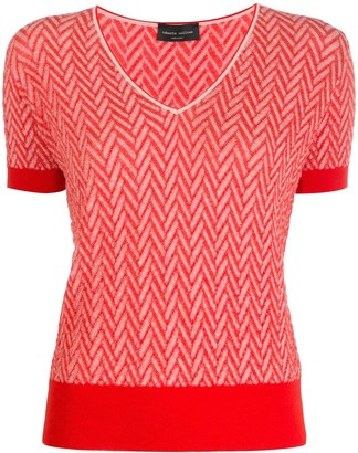 Roberto Collina Chevron Patterned Shortsleeved Knitted Top