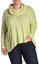 Catherine Malandrino Waffle Knit Cowl Neck Sweater (Plus Size)