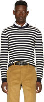 Prada Navy and Off-white Striped Lambswool Sweater