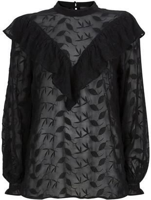 Mint Velvet Black Ruffled Embroidered Top
