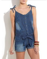 Blue Denim Pintuck Playsuit