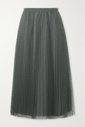 RED Valentino Pleated Swiss-dot Tulle Midi Skirt - Army green