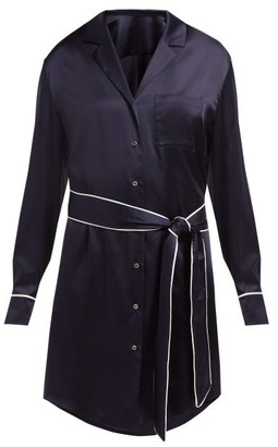 ODYSSEE Roustian Silk-satin Shirt Dress - Navy