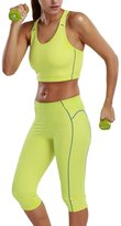 La Isla Women's Activewear Sport Set Bra Top and Tight Capri Leggings Pants L