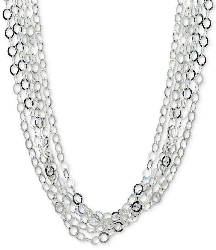"""Giani Bernini Interlocking Circle Link Multi-Strand 18"""" Statement Necklace in Sterling Silver, Created for Macy's"""